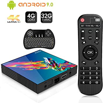 Android 9.0 TV Box A95X【4G+32G】4K Smart TV Box Mini teclado inalámbrico retroiluminado Quad-Core Cortex-A53 RK3318 WiFi 2.4G/5GHz Bluetooth 4.2 Ethernet 100M H.265 USB3.0: Amazon.es: Electrónica