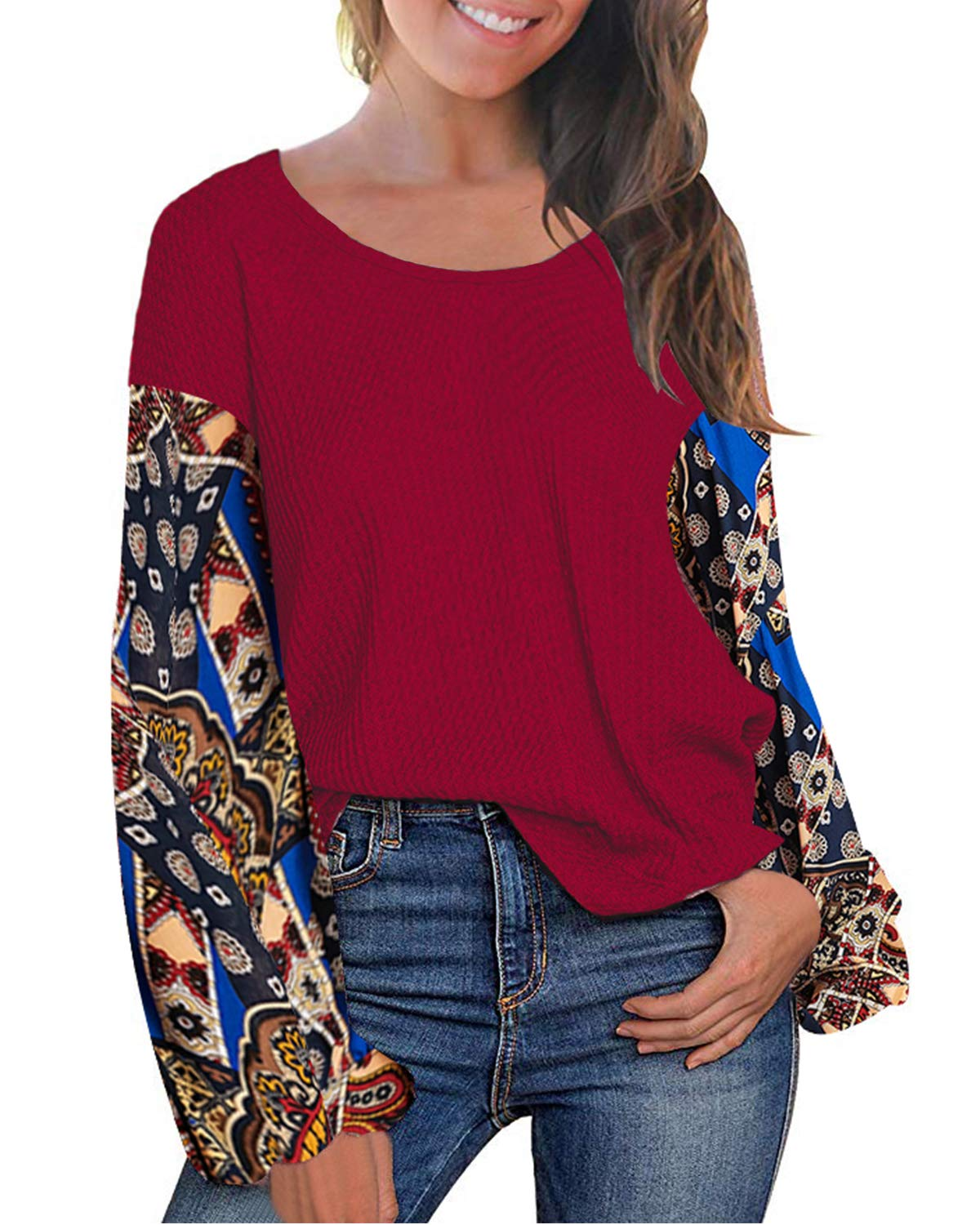 LeMarnia Womens Round Neck Floral Printed Balloon Sleeve Casual Knit Tops Off Shoulder Patchwork Pullover Sweatshirts Wine M