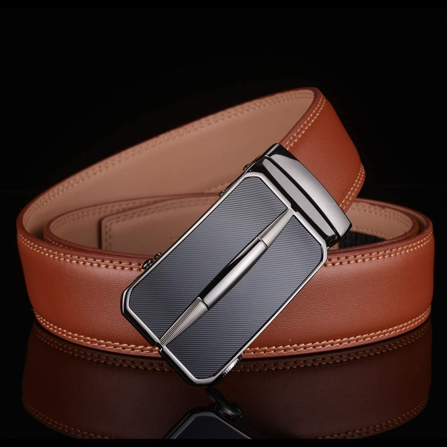 Romantico Men Leather Belt 2018 Automatic Buckle Mens Belt For Jeans Fashion Brand Brown Mens Belts Luxury Genuine Leather G43,Chocolate,110cm