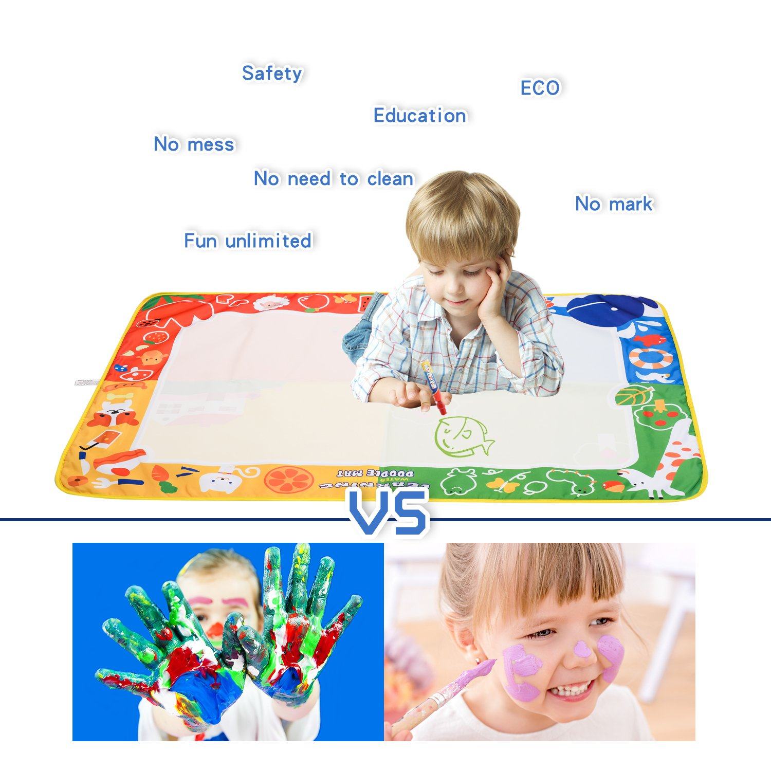 citymama Drawing Mat Doodle Magic mat water Drawing & writing Mat painting board 4 Colors with 3 Magic Drawing Pens and 15 Molds Kids Educational Toy Mat Gift for Children XL Size 40'' x 28'' by citymama (Image #5)