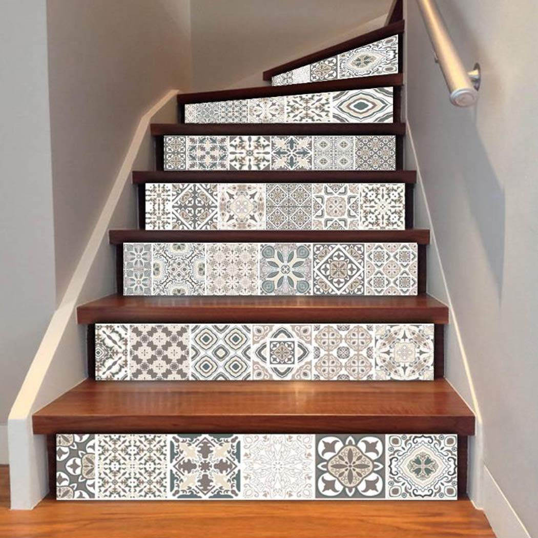 Justdolife Stair Stickers, 6Pcs Stair Stickers DIY Waterproof PVC Self Adhesive Wall Tile Stickers Stair Decals for Home 39.37'' x 7.09''