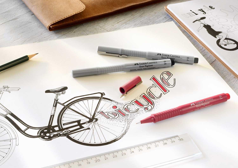 kinder wo zu kaufen großartige Qualität Faber Castell Ecco Pigment Fibre Tip Pen, 0.2mm, Black Pack Of 2 Pcs