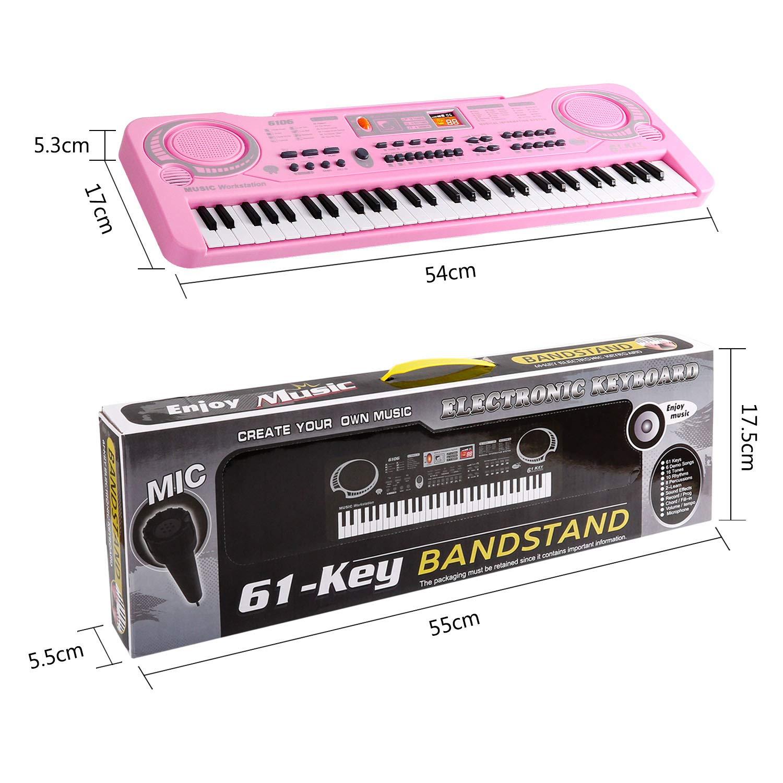 Shayson Teclado de Piano para niños, multifunción, 61 Teclas, Piano, órgano electrónico, música, Musical, Musical, Teclado de Karaoke, micrófono, ...