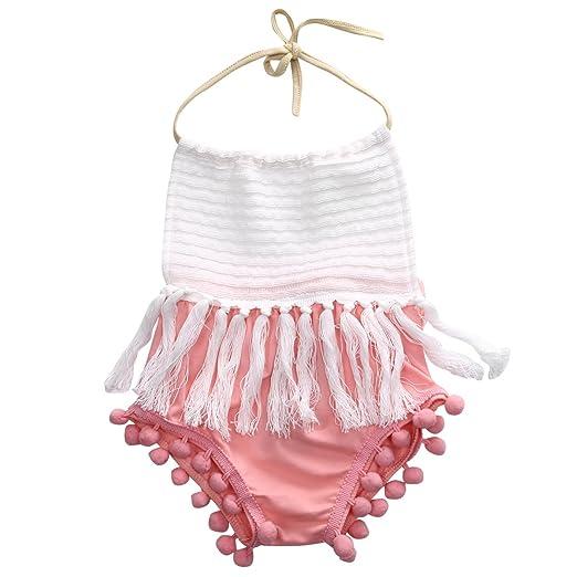 Scfcloth Newborn Baby Girl Toddler Halter Tassel Romper Outfits