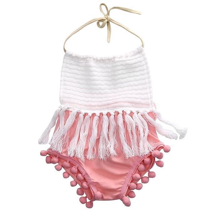 5588eb677ecf Scfcloth Baby Girls Romper Tassel Halter Newborn Toddler Summer Outfits  Jumpsuit White   pink 70 (