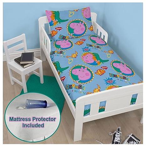 Peppa Pig George rugido Junior juego de funda de edredón + para cama Protector de colchón