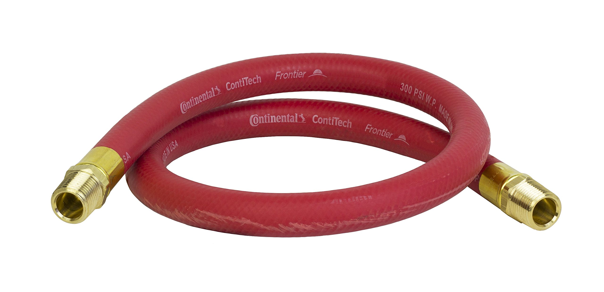 PneumaticPlus RED EPDM Synthetic Rubber Air & Water Hose 3/4'' ID x 1.15'' OD with 3/4'' NPT Male Fitting Connections (3 FT)