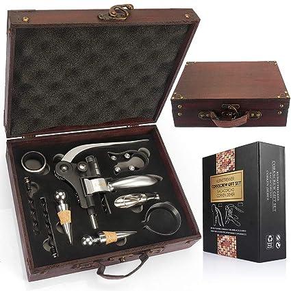 YOBANSA Juego de regalo de accesorios de vino, caja de madera antigua, kit de abrebotellas de vino de conejo, tapón de vino de sacacorchos de vino de ...