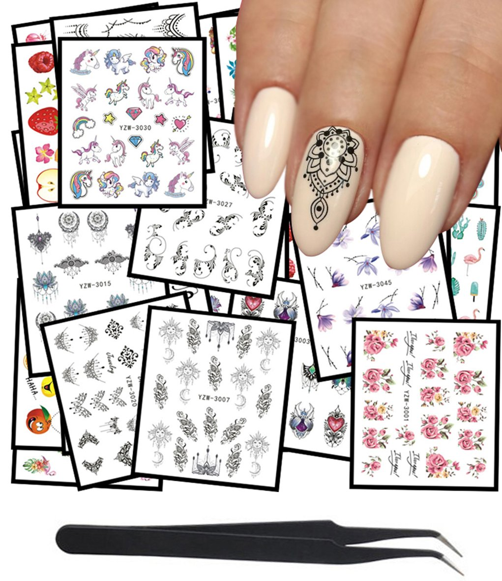 WOKOTO 48Pcs Nail Water Decals Feather Flower Lace Butterfly Cartoon Water Transfer Stickers For Nails Art Design With Nail Tweezers