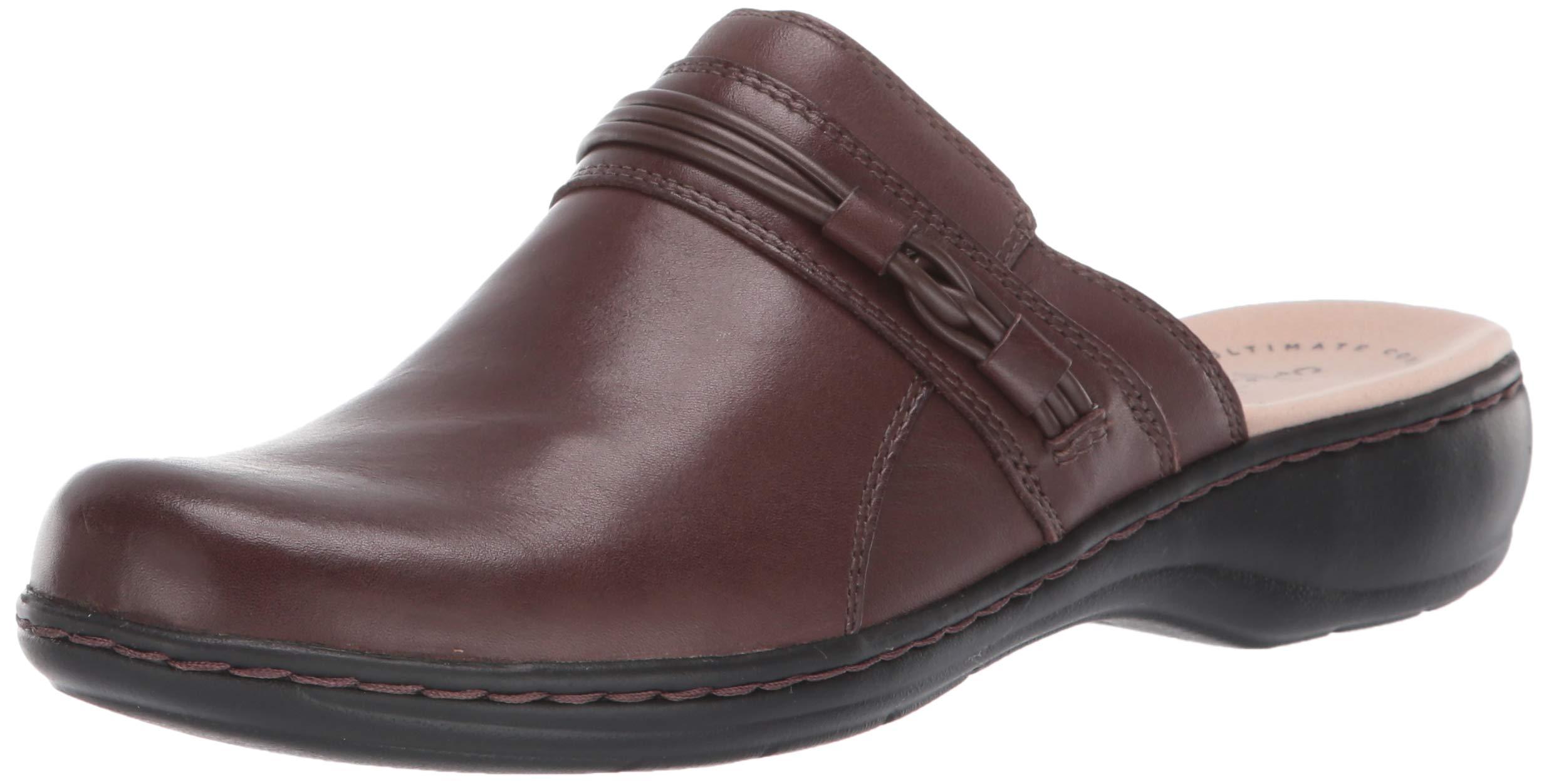 CLARKS Women's Leisa Clover Clog, Dark Brown Leather, 90 W US by CLARKS