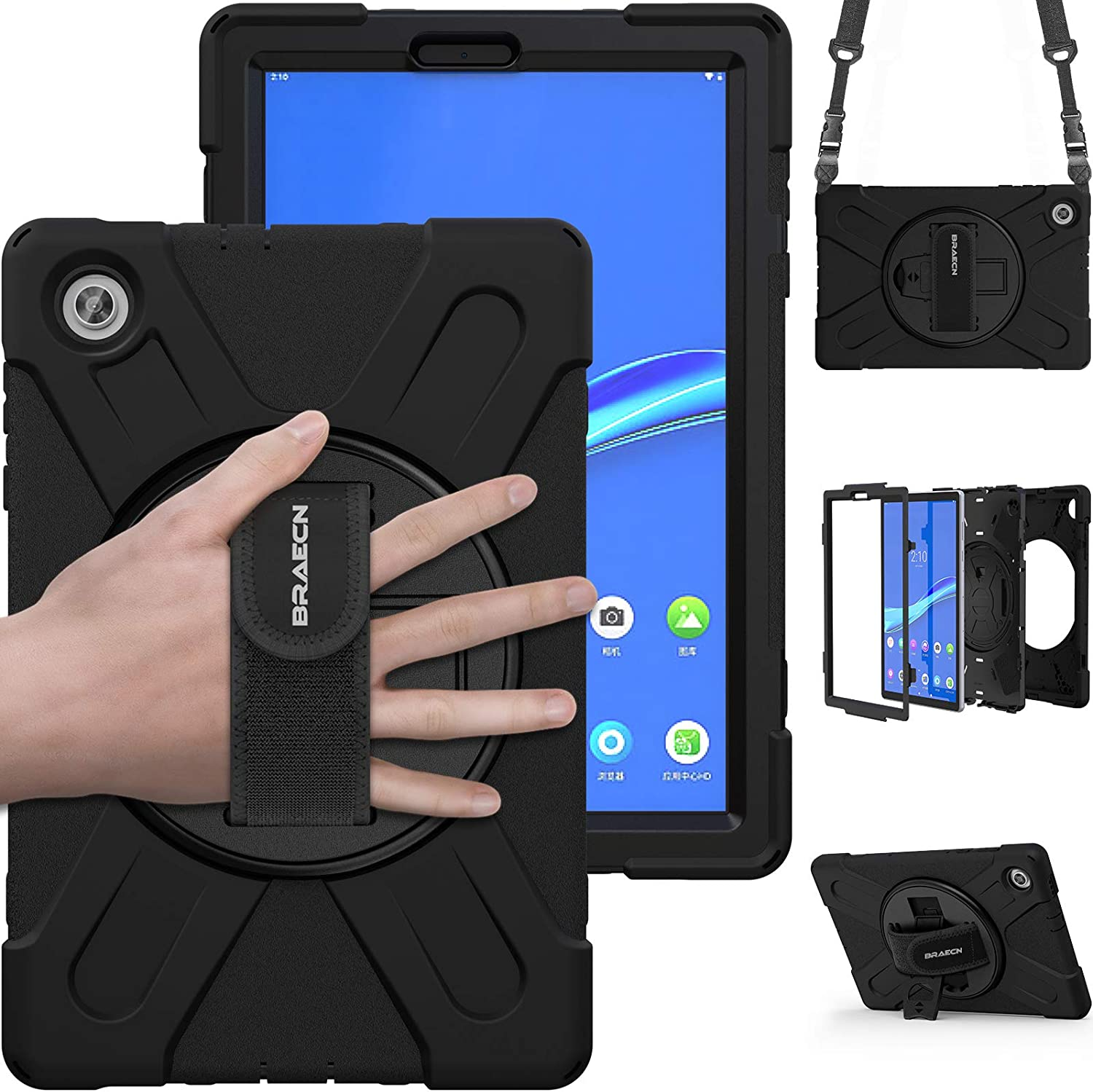 BRAECN Case for Lenovo Tab M10 HD 2nd Gen 2020 (TB-X306X), Heavy Duty Rugged Shockproof Protective Case with carrying Shoulder Strap, kickstand and hand strap for Tab M10 2nd gen 10.1'' TB-X306F-BLACK