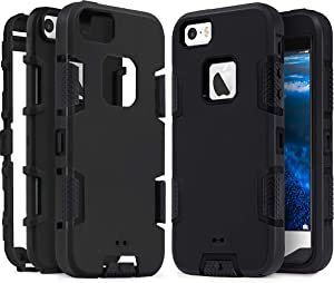 iPhone SE Case, IDweel iPhone 5S Case,iPhone 5 Case, Heavy Duty Protection Shockproof Sport Rugged Drop Resistant Dustproof Anti-Scratch Protective Cover for Apple iPhone 5 5S SE, Black