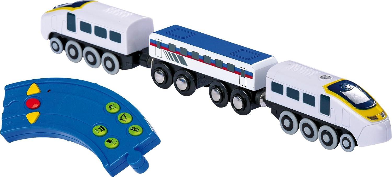 welche den Zug in zwei Richtungen fahren l/ässt Zus/ätzlich ert/önen auf Knopfdruck an der Fernbedienung Ger/äusche Lokomotive aus Kunststoff mit einer Fernbedienung Holzeisenbahn