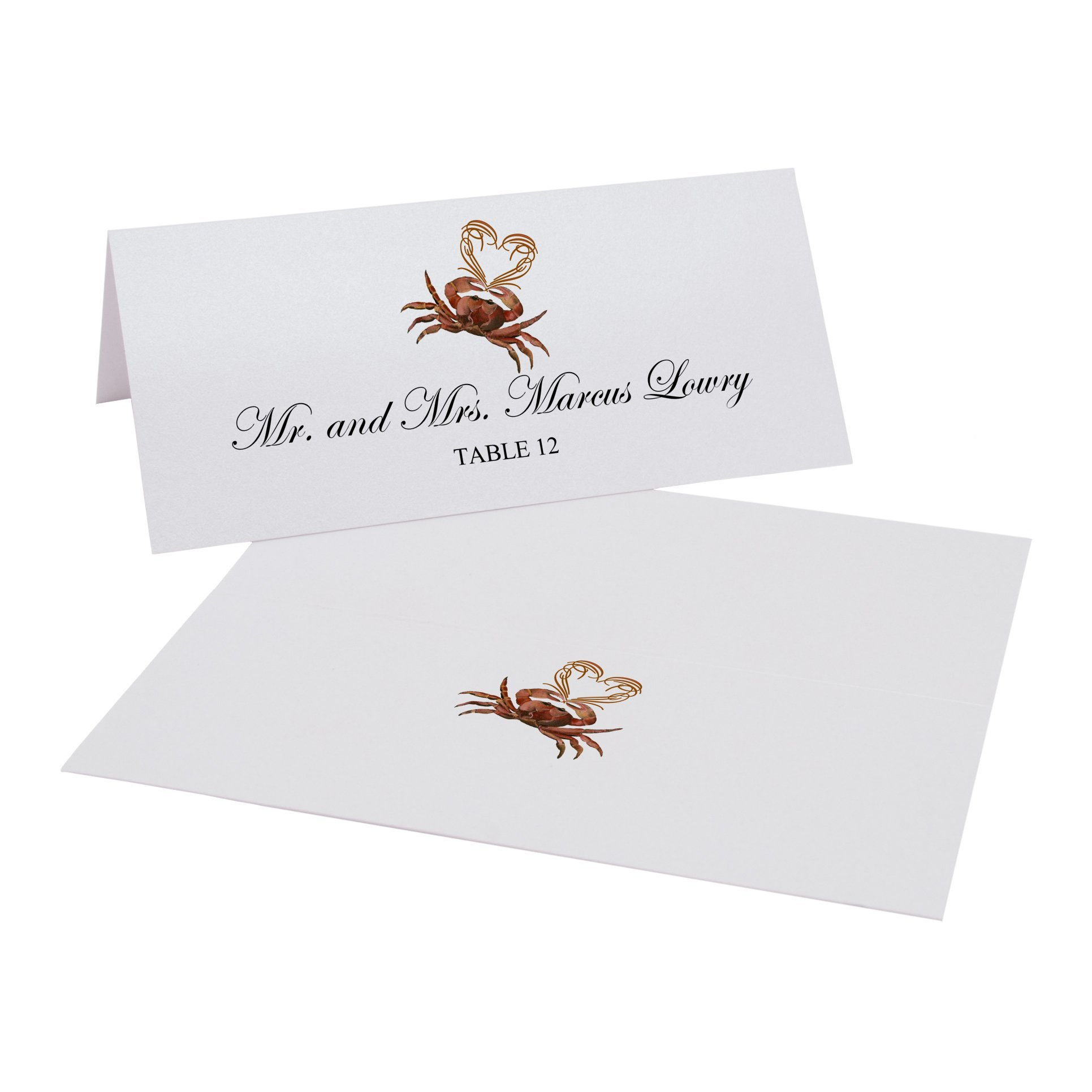 Crab and Heart Easy Print Place Cards, Pearl White, Set of 350 (88 Sheets)