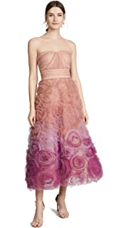 9d1bb70369d Marchesa Notte Women's Strapless Textured Tulle Gown 14 Coral at ...
