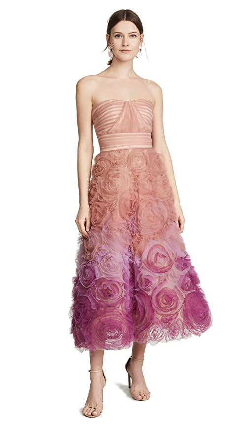 4fd914cd Marchesa Notte Women's Strapless Ombre Textured Tulle Gown at Amazon  Women's Clothing store: