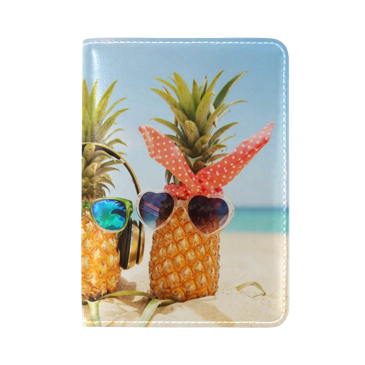 ALAZA Tropical Pineapples Love Leather Passport Holder Cover Case Travel One Pocket