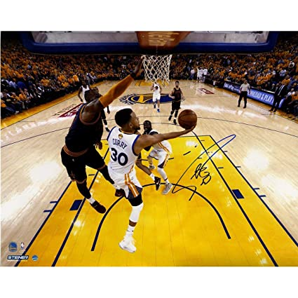 594879e58 Stephen Curry Signed  NBA Finals Layup Against LeBron  16x20Color ...