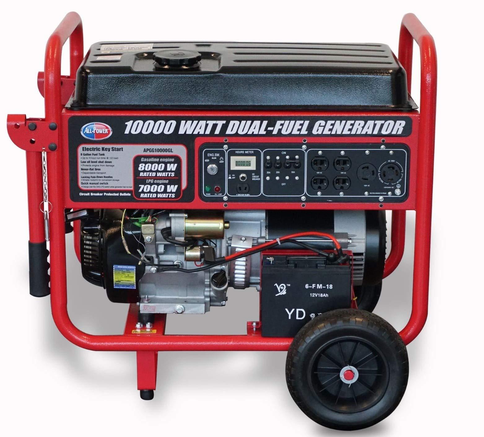 All Power America 10000 Watt Dual Fuel Generator w/ Electric Start, APGG10000GL 10000W Gas/Propane Portable Generator, Red/Black