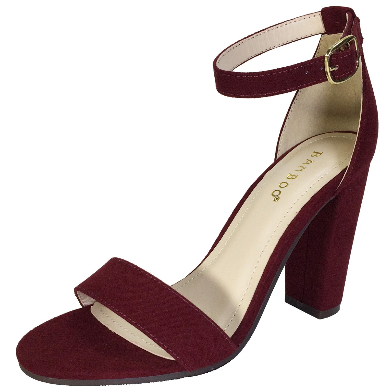 Bamboo Women's Single Band Chunky Heel Sandal with Ankle Strap, Burgundy Faux Suede, 8.5 B US