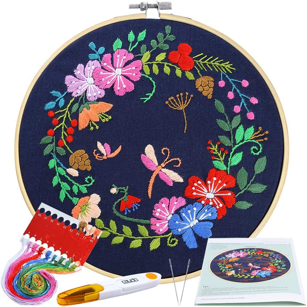 Color Threads and Tools Embroidery Clothes with Floral Pattern Plastic Embroidery Hoops Blue Caydo Full Range Embroidery Starter Kit with Pattern and Instructions