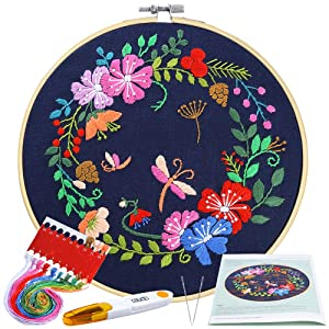 Caydo Full Range Embroidery Starter Kit with Pattern and Instructions, Embroidery Clothes with Floral Pattern, Bamboo Embroidery Hoops, Color Threads and Tools