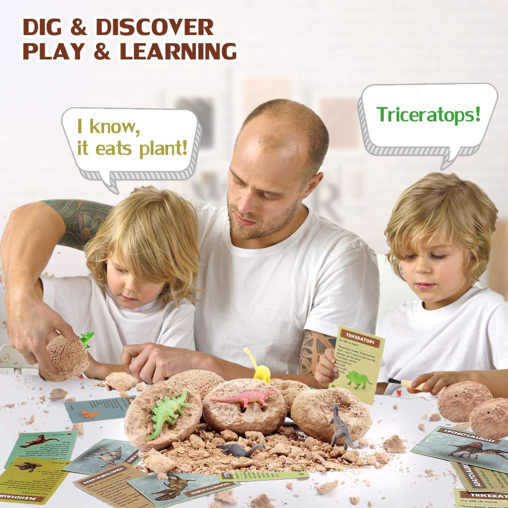 VATOS Dinosaur Eggs Dig Kit 12 Pack,Discover 12 Different Dinos, Easter Eggs Archaeology and Paleontology Toy Dino Egg Excavation Kit STEM Toys for 6,7,8,9 Year Old Boys Girls Kids Gift