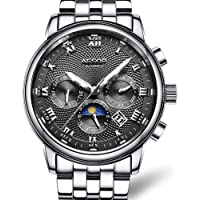 AESOP Watches Mens Full Stainless Steel Automatic Mechanical Analog Wrist Watch for Men Business Dress Casual Classic Date Watch Waterproof Clock
