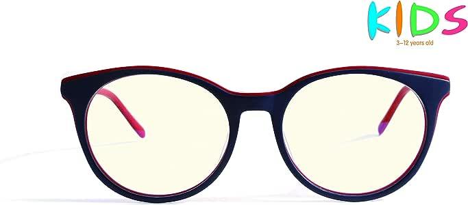 AVOptical Kids' Blue Light Blocking Glasses for Computer Reading Games (Age 3-12), Advanced Renewable Material, Anti Eyestrain Headache-AV2004-C4