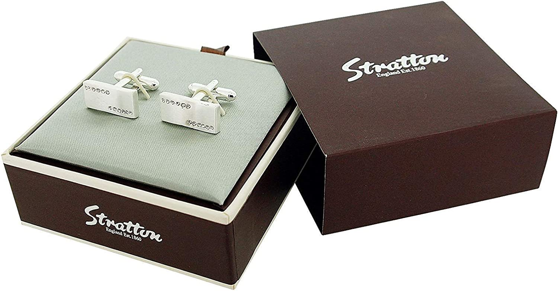 Stratton Gents Silvertone Rhinestone Set Wave Cufflinks ST1161