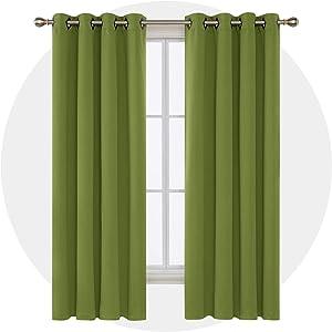 Deconovo Grommet Top Room Darkening Curtains for Bedroom, 52x84 Inch, Grass Green