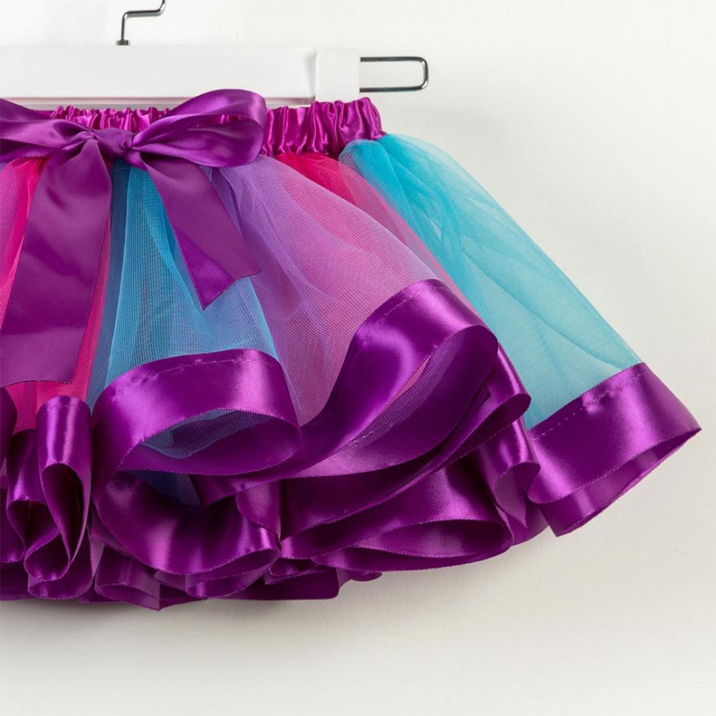 Kehen Kids Toddler Baby Tutu SkirtParty Ballet Dance Rainbow Gauze Petticoat Pettiskirt Bows Dancewear Dresses Up