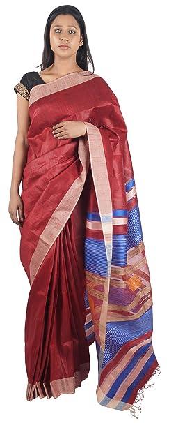 Bihar Khadi Women's Silk Saree (bksksrw0003_Maroon)
