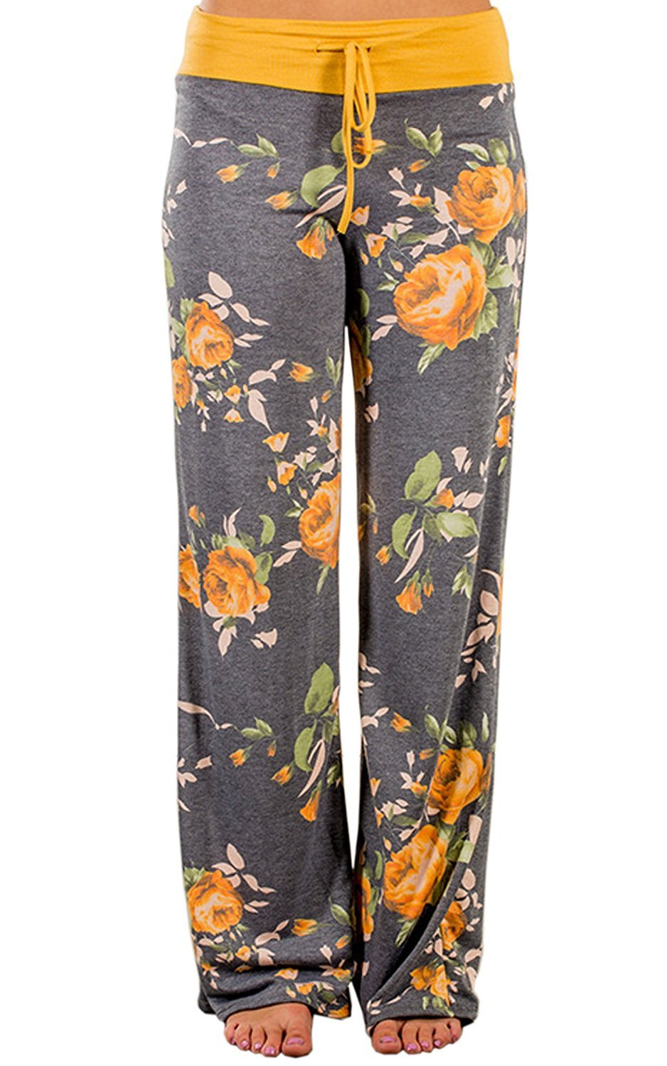 US-straight Women's Floral Print Comfy Stretch Drawstring Palazzo Wide Leg Lounge Pants (S, 0447-Yellow)