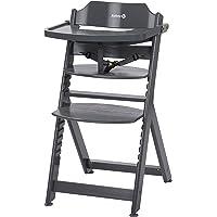 Safety 1st Timba drewniane wysokie krzesełko dziecięce z odpinaną tacą, 6 miesięcy - 10 lat, ciepłe szare