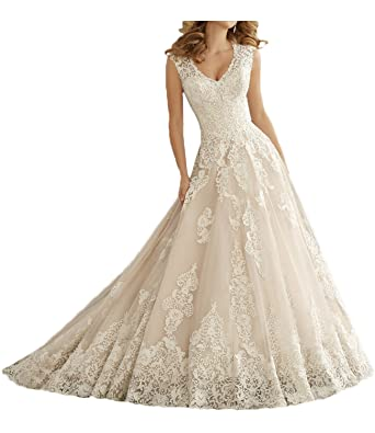 4c924c66fe MILANO BRIDE Elegant Wedding Dress For Bride V-neck Ball Gown Applique Lace -2