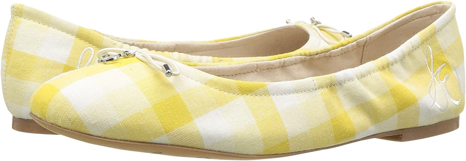 [Sam Edelman] レディースFelicia Balletフラット B078WGBPT9 6.5 W US|Yellow Multi Linen Gingham Yellow Multi Linen Gingham 6.5 W US