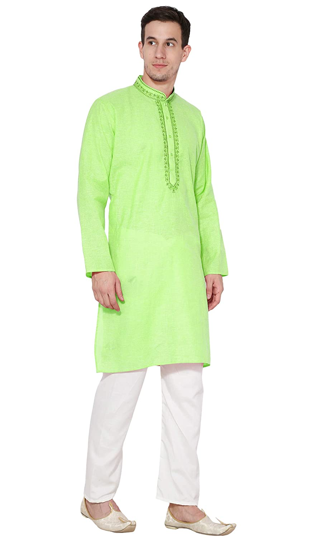 58cef03aad Kurta Pajama Collection Clothing Long Sleeve Cotton Shirt Pyjama Kurta  Pyjama Mens Indian Dress -L Lime Green  Amazon.co.uk  Clothing