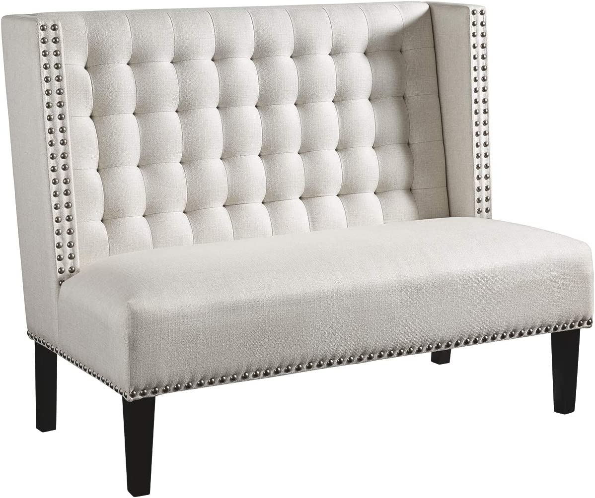 Signature Design by Ashley – Beauland Accent Settee – Contemporary Chic – Nalihead Trim – Off-White