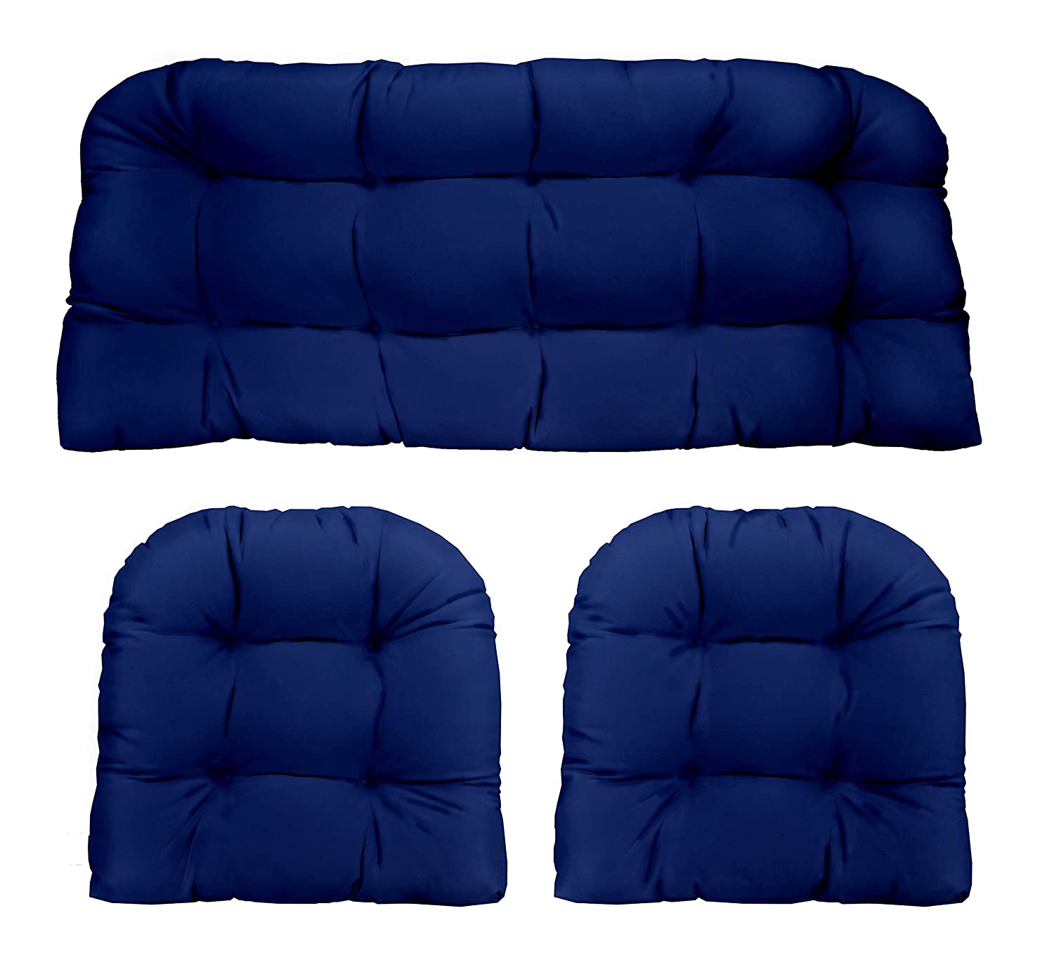 Resort Spa Home Decor Royal Cobalt Blue Solid Fabric Cushions for Wicker Loveseat Settee 2 Matching Chair Cushions