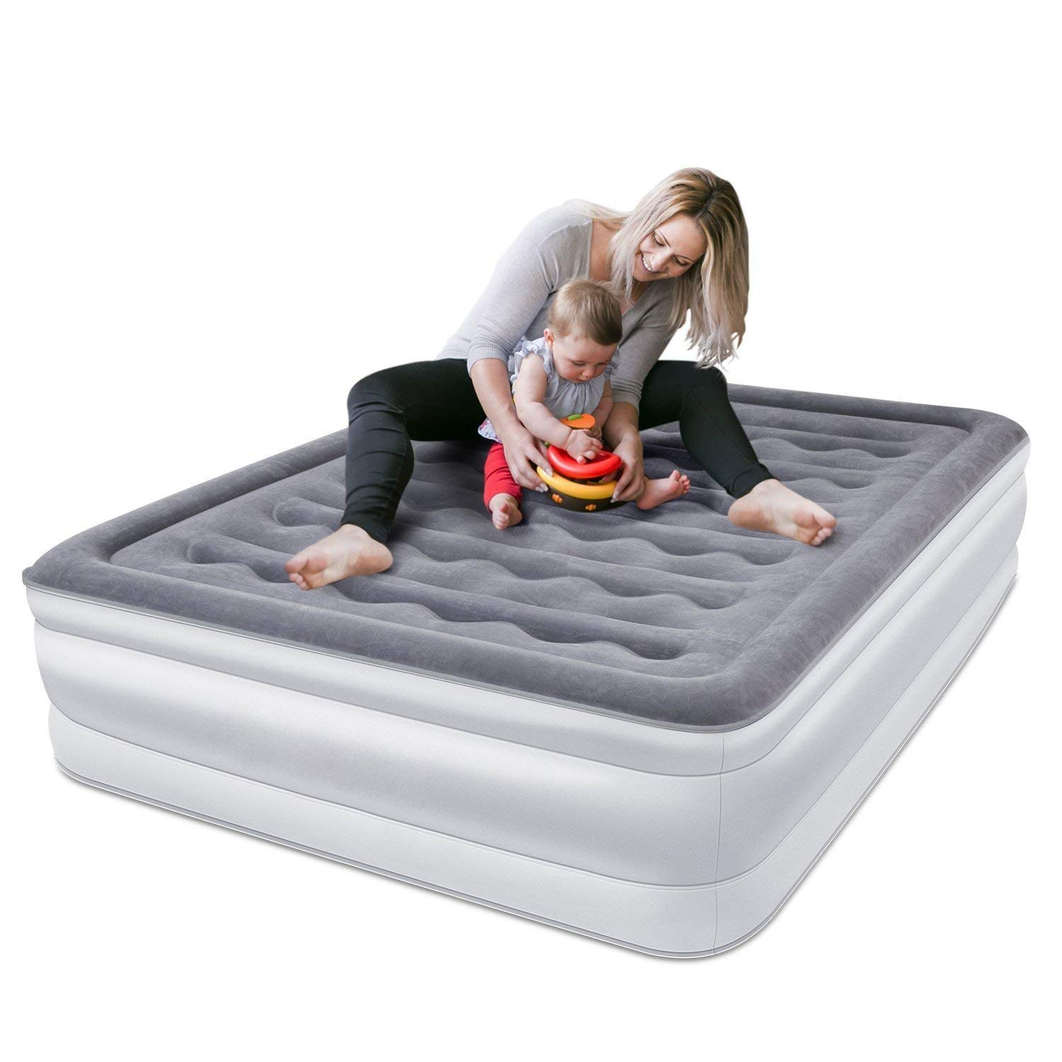 SPREEY Air Mattress Air Bed with Comfort Coil Technology & Built-in Electric Pump, Queen Inflatable Mattress Bed Soft Flocking Layer Comfortable and Portable Equipped Fashion Storage Bag