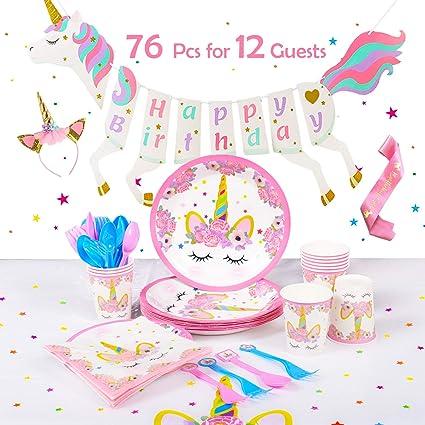 Amazon Unicorn Party Decorations Set Service 12 Guests Theme Birthday Kit And Favors With Bonus Pink Satin Sash Toys