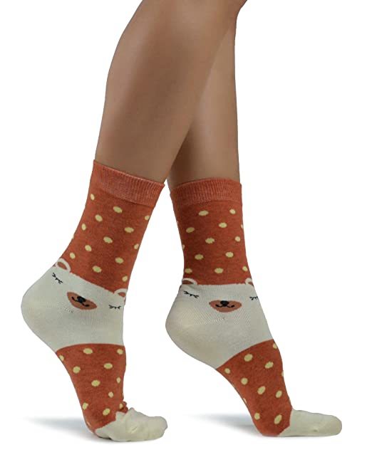 Mixmi Boutique Calcetines del oso de peluche para dormir de las mujeres con lunares (Naranja