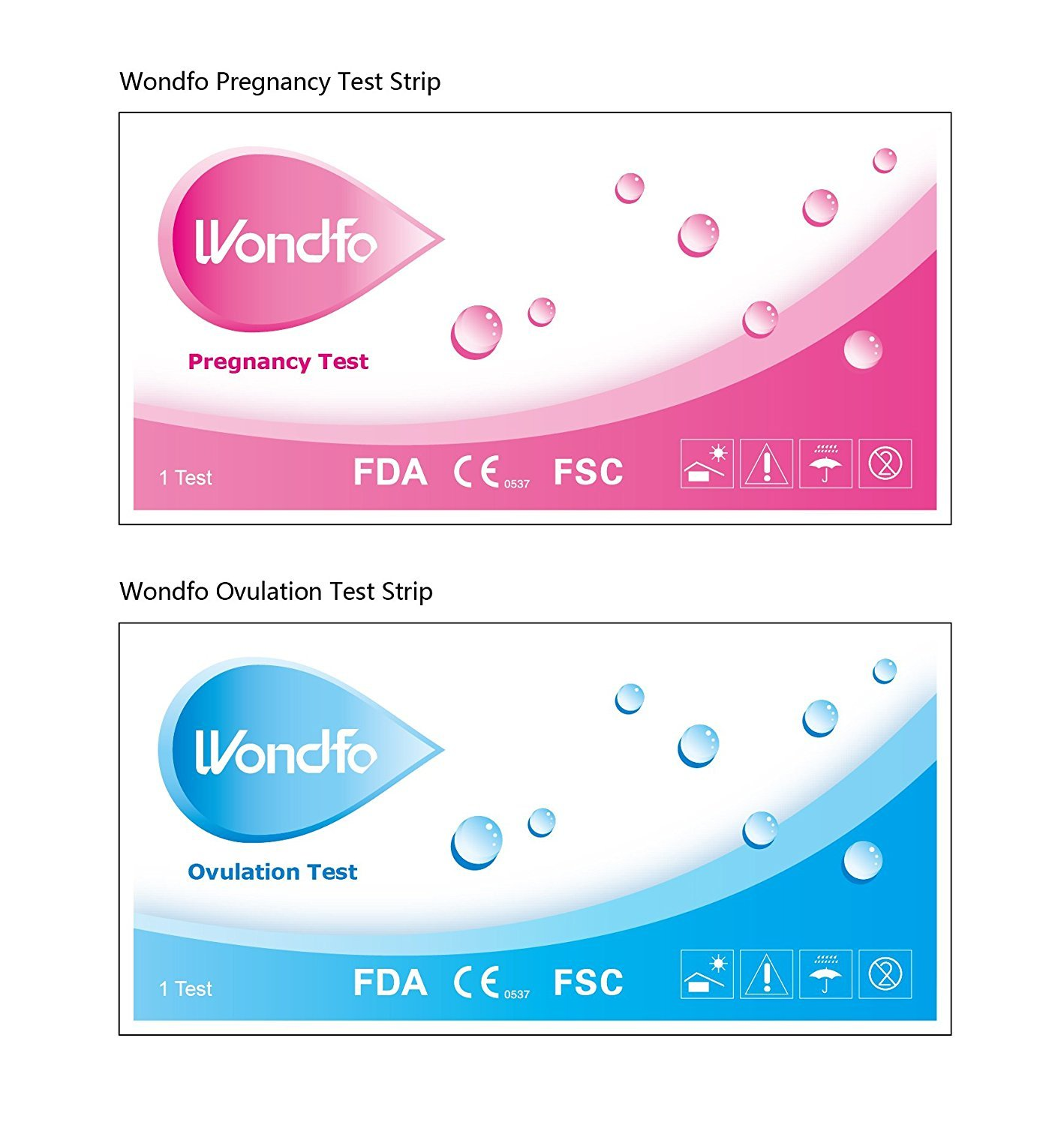 Wondfo 50 Ovulation Test Strips and 20 Pregnancy Test Strips Kit (50 LH + 20 HCG)