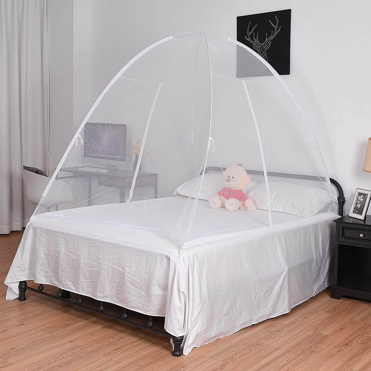 Costway Mosquito Net Four Corner Bed Canopy Bug Queen Full King Size (white)