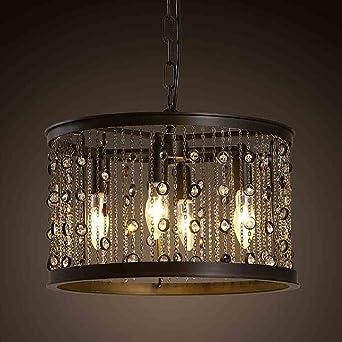 Industrial Style Pendelleuchte Regentropfen Kristall Perle Dekoration Eisen  Lampenschirm Land Retro Restaurant Bar Trommel Kronleuchter Lampe