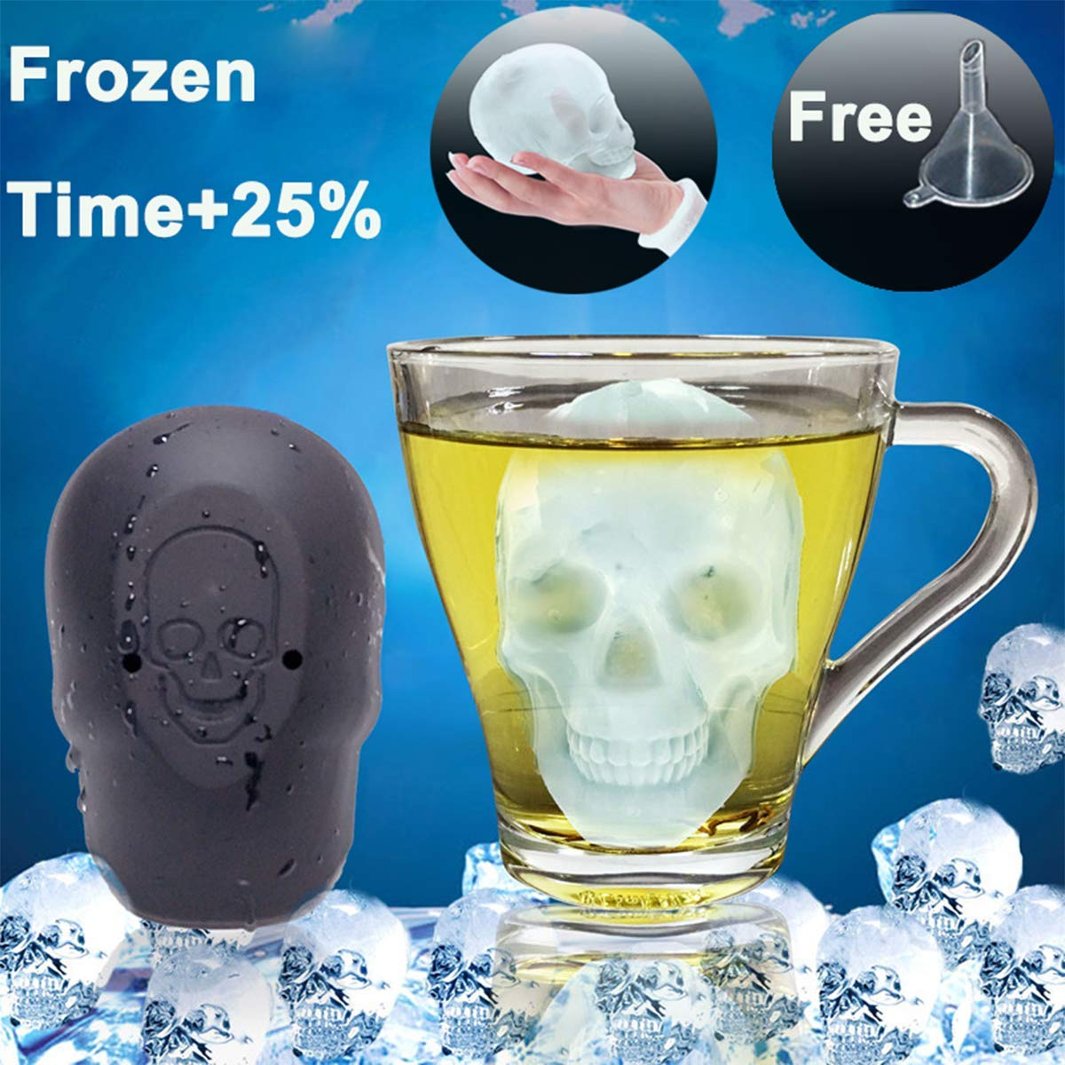 Halloween 3D Skull Flexible Silicone Ice Cube Mold Tray Make 3'' Giant Skull for Whiskey Drinks Cooler Bigger Skull Chocolate Cake Mold for Party Bar Large Ice Cube Maker Easy Fill Release Free Funnel