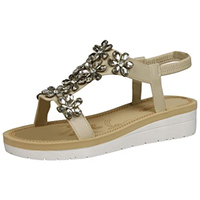 a1442a8c4 Feet First Fashion Demeter Womens Low Wedge Heels Open Toe Diamante Sandals  Ladies Flower Shoes New  Amazon.co.uk  Shoes   Bags