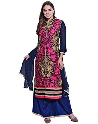 9f7b8a186048 Navy Blue Pure Georgette Embroidered, Viscose Santone Salwar Suit with  Orient Chiffon Dupatta Material Free Size: Amazon.in: Clothing & Accessories