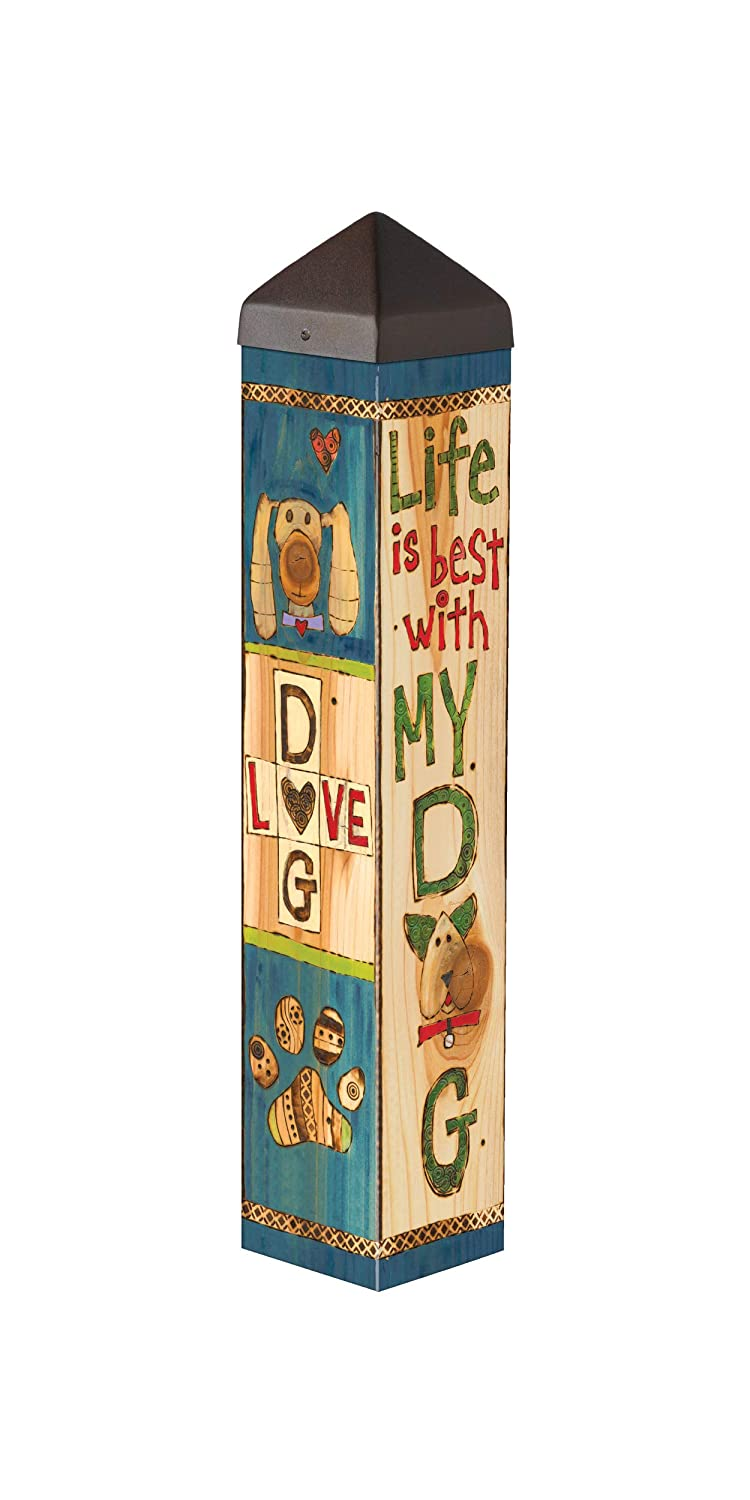 Studio M Lessons from My Dog Art Pole Pet Puppy Outdoor Decorative Garden Post, Made in USA, 20 Inches Tall